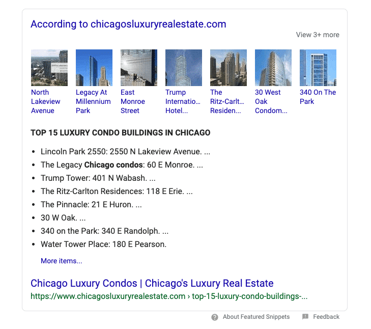 Featured Snippet Results