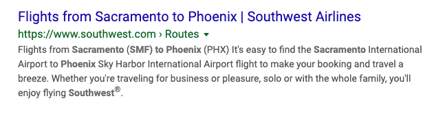 Southwest Page Title Example